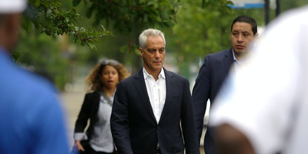 CHICAGO, IL - AUGUST 6 : Chicago Mayor Rahm Emanuel arrives at a news conference to address reporters about Chicago's weekend of gun violence, Monday, August 6, 2018 in Chicago, Illinois. Chicago experienced one of it's most violent weekends of the year, after more then 70 people were shot, with 12 fatalities. (Photo by Joshua Lott/Getty Images)