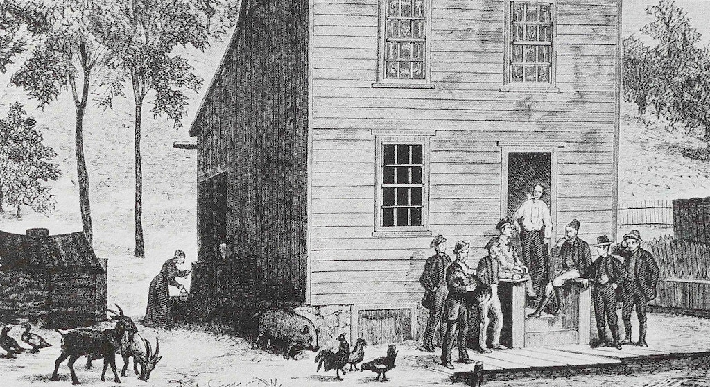 Exterior of 'Muff' Lawler's barroom and residence, a Molly Maguire base, in the town of Shenandoah, Pennsylvania. From an old woodcut. The Molly Maguires was an Irish 19th-century secret society active in Ireland, Liverpool and parts of the Eastern United States, best known for their activism among Irish-American and Irish immigrant coal miners in Pennsylvania. After a series of often violent conflicts, twenty suspected members of the Molly Maguires were convicted of murder and other crimes and were executed by hanging in 1877 and 1878. (Photo by: Universal History Archive/Universal Images Group via Getty Images)