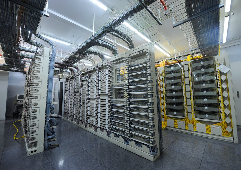 Internal computer internet servers are seen at the Telvent GIT SA company headquarters in Madrid, Spain, on Tuesday, July 19, 2011.