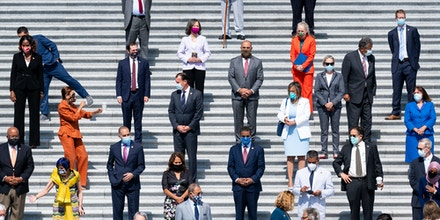 UNITED STATES - JUNE 25: House Democrats gather for a press event on the House steps ahead of the vote on the George Floyd Justice in Policing Act of 2020 on Thursday, June 25, 2020. (Photo By Bill Clark/CQ-Roll Call, Inc via Getty Images)