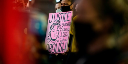 Protesters gather at 59th St. and Fifth Avenue after a judge announced the charges brought by a grand jury against Detective Brett Hankison, one of three police officers involved in the fatal shooting of Breonna Taylor in New York City on September 23, 2020. - Hankison was charged today with three counts of