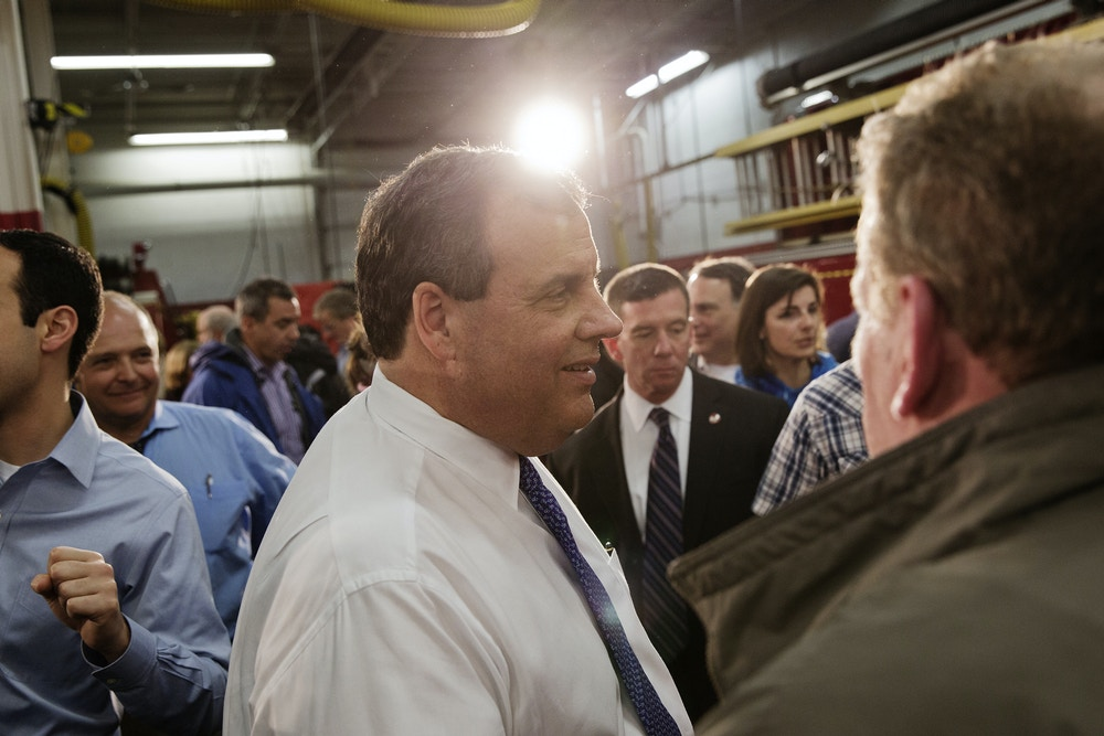 Chris Christie, governor of New Jersey and 2016 Republican presidential candidate, greets attendees during a campaign event in Milford, New Hampshire, U.S., on Wednesday, Feb. 3, 2016. Christie said Barack Obama's administration has overlooked Puerto Rico's debt crisis and that he would be willing to assist in return for more oversight over the island. Photographer: Victor J. Blue/Bloomberg via Getty Images