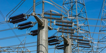 High tension electrical power lines at a transfer station along Highway 58 are viewed on March 28, 2017, near Buttonwillow, California.