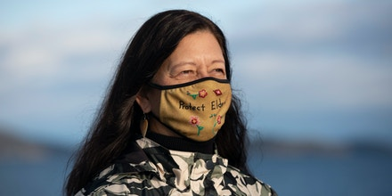 Confederated Salish and Kootenai Tribal Chairwoman Shelly Fyant poses for a portrait on December 2, 2021 in Polson, Montana.