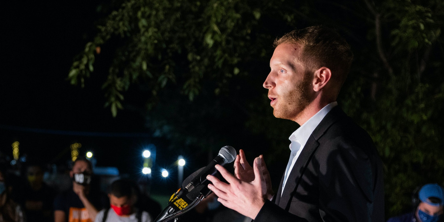 """Holyoke Mayor Alex B. Morse speaks at Jay's Bed and Breakfast after his loss to U.S. Rep. Richard E. Neal in the Democratic primary for the First Congressional District, Tuesday, Sept. 1, 2020, in Holyoke, Mass. (Hoang """"Leon"""" Nguyen/The Republican via AP)"""