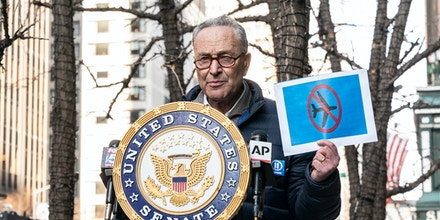 U. S. Senator Schumer held presser demanding the feds place individuals who entered and stormed the U.S. Capitol on TSA NO FLY list on 3rd Avenue in New York on January 12, 2021.