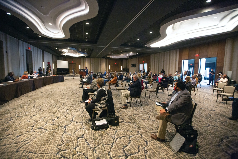Those attending an Odessa City Council work session listen to Sanctuary Cities for the Unborn's Mark Dickson speak about an ordinance that would outlaw abortion within the city of Odessa, Texas, Thursday, Jan. 14, 2021, in the Devonian Ballroom at the Marriott Hotel & Conference Center. (Jacob Ford/Odessa American via AP)