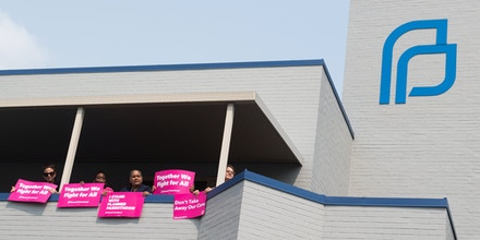 Pro-choice supporters and staff of Planned Parenthood hold a rally outside the Planned Parenthood Reproductive Health Services Center in St. Louis, Missouri, May 31, 2019.