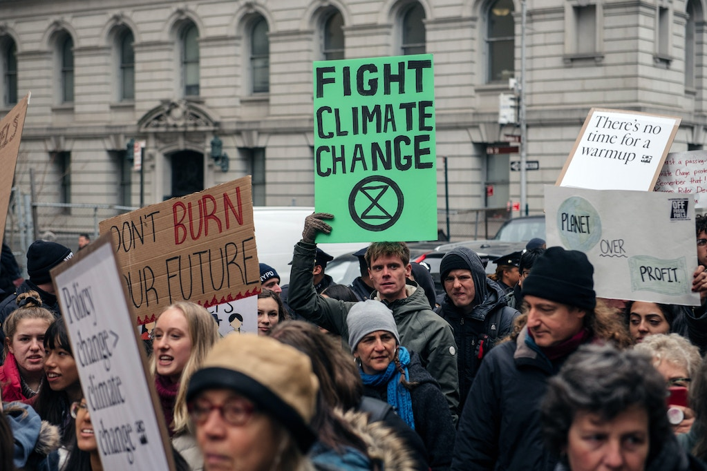 Demonstrators from several environmental groups including Extinction Rebellion and Sunrise Movement demand broad action at a youth-led climate strike near City Hall on December 6, 2019 in New York City.