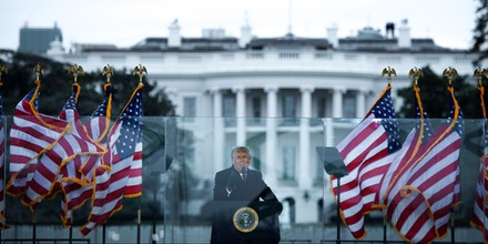 US President Donald Trump speaks to supporters from The Ellipse near the White House on January 6, 2021, in Washington, DC. - Thousands of Trump supporters, fueled by his spurious claims of voter fraud, are flooding the nation's capital protesting the expected certification of Joe Biden's White House victory by the US Congress. (Photo by Brendan Smialowski / AFP) (Photo by BRENDAN SMIALOWSKI/AFP via Getty Images)