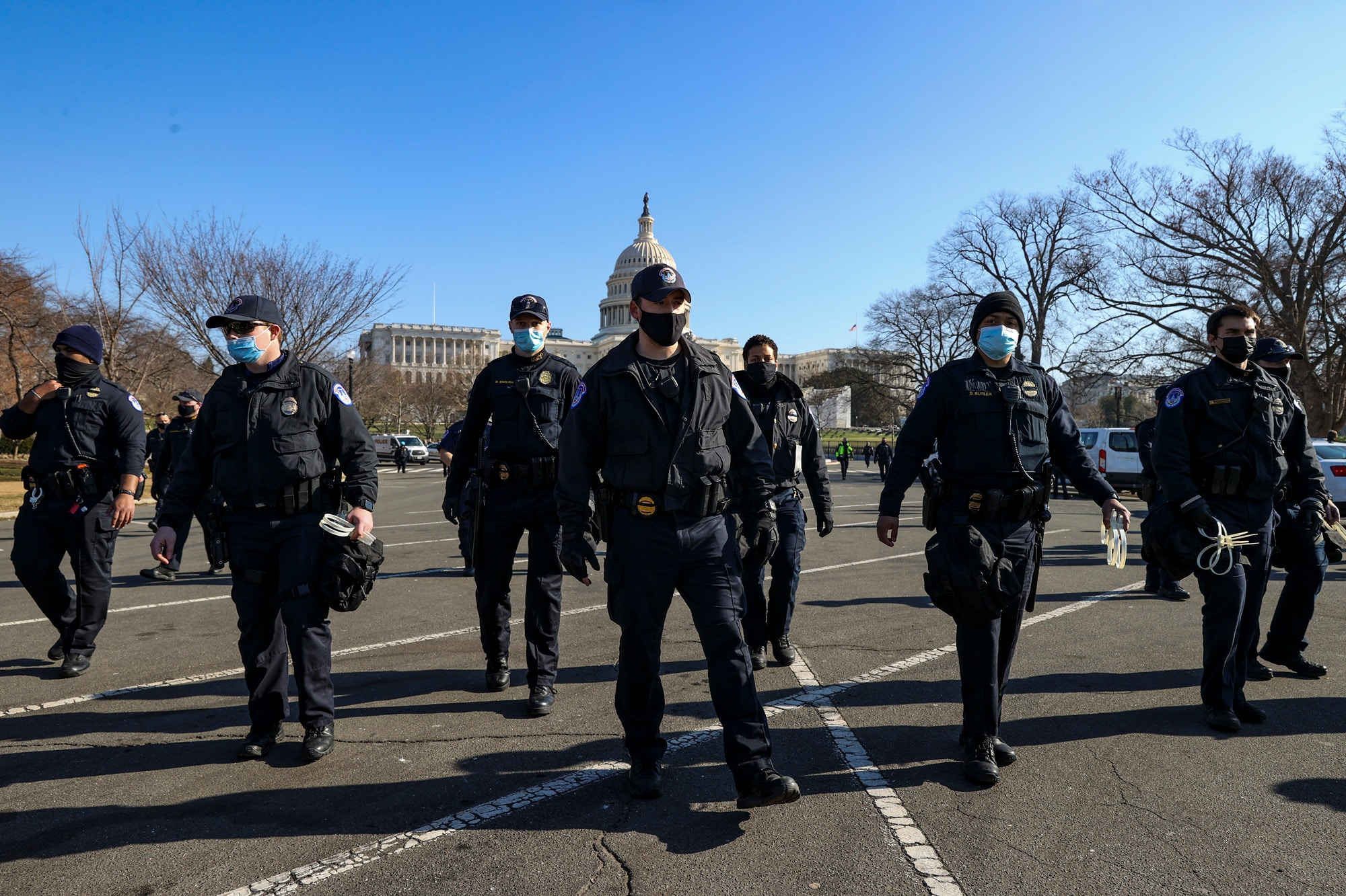 U.S. Capitol Police prepare to make arrests as anti-Trump protesters gather on the West Front of the U.S. Capitol on January 13, 2021 in Washington, DC.