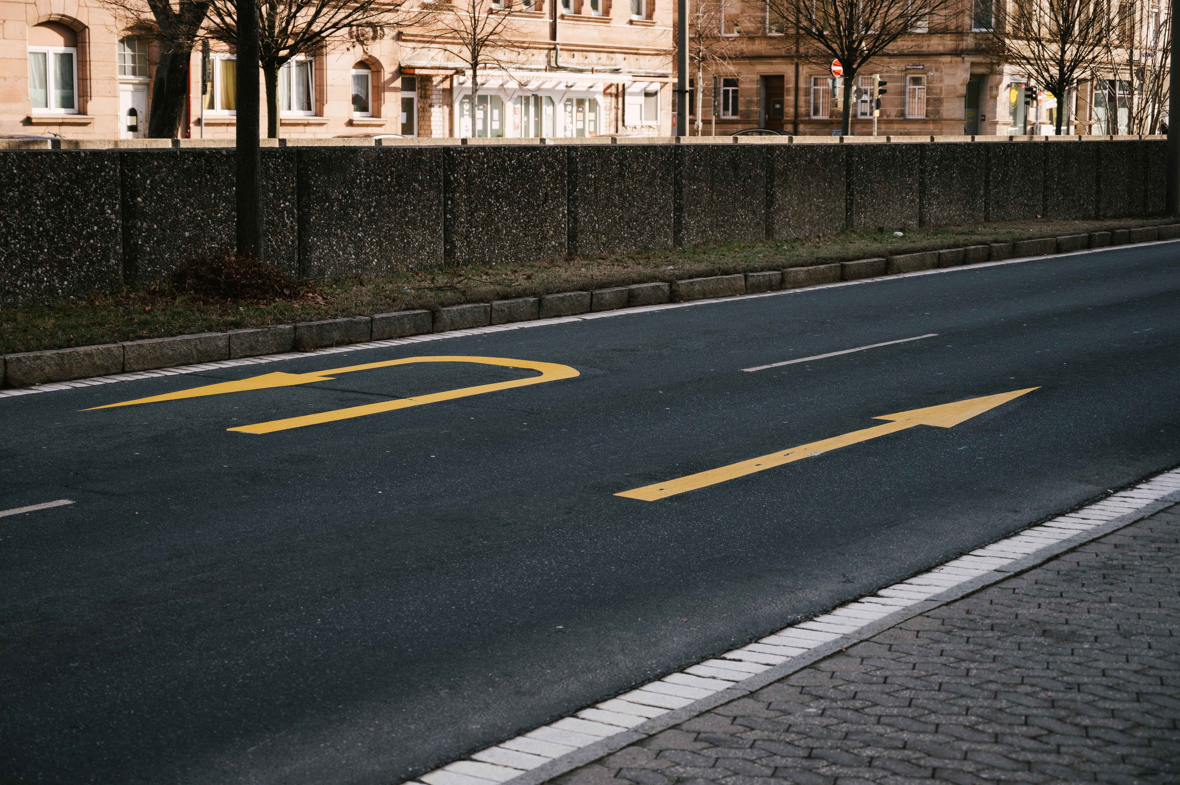 Road markings due to road works.