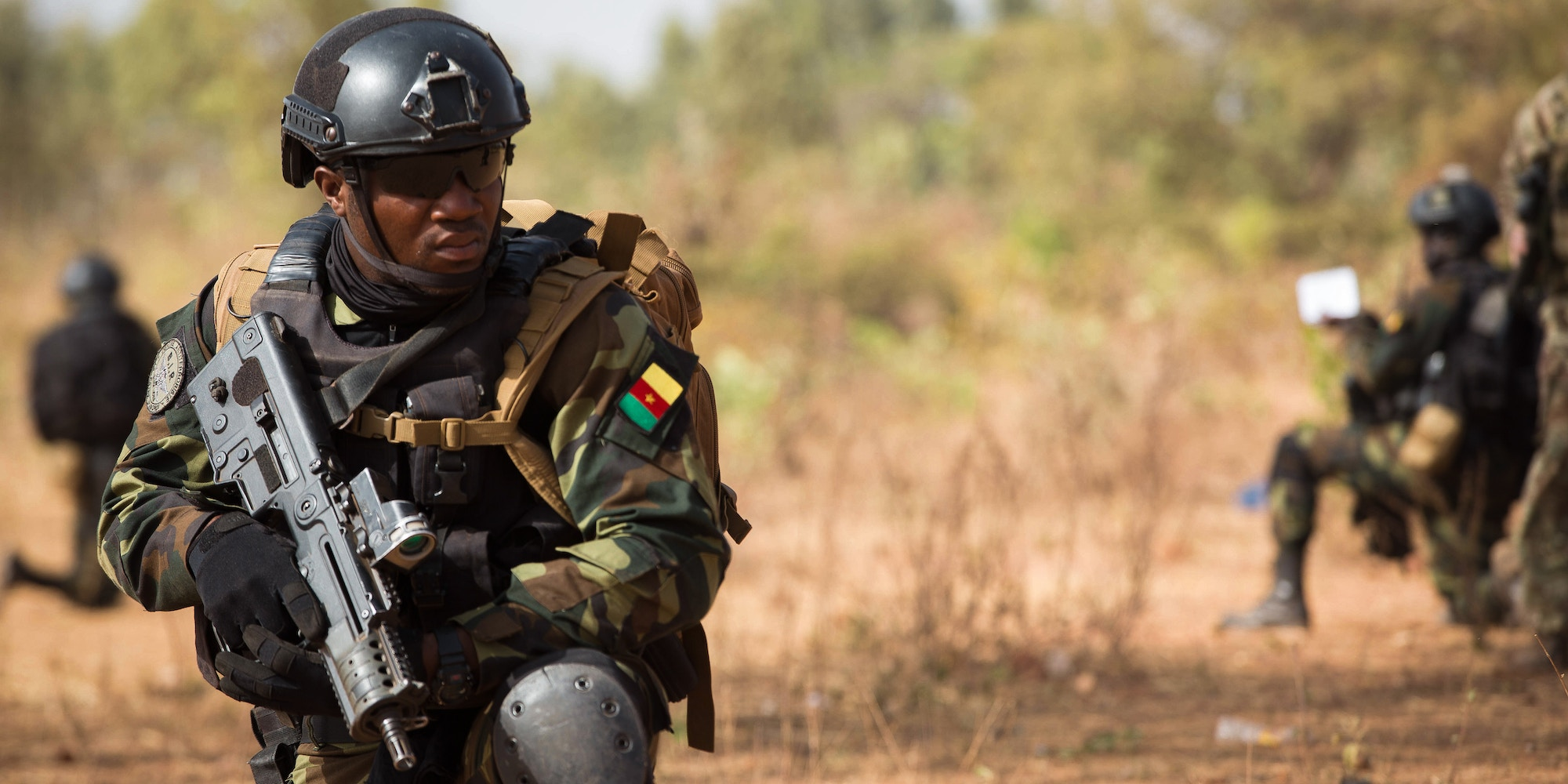 Cameroon soldiers, Burkina Faso soldiers and Niger soldiers train identifying a enemy, Bobo-Dioulasso, Burkina Faso, Feb. 27, 2019. Hosted by Burkina Faso, Flintlock is designed to strengthen the ability of key partner nations in the region to counter violent extremist organizations, protect their borders and provide security for their people. (U.S. Army photo by Spc. Dracorius white)