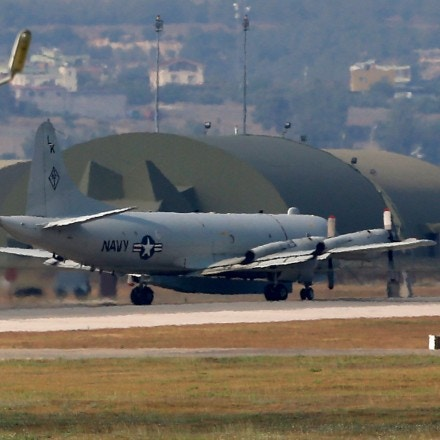 A U.S. Navy plane maneuvers on the runway of the Incirlik Air Base, in Adana, Turkey in July 28, 2015.