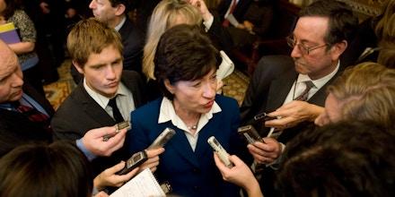 Sen. Susan Collins, R-Maine, speaks to reporters following passage of the economic stimulus bill in the Senate, Feb. 10, 2009.