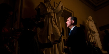 UNITED STATES - FEBRUARY 5: Rep. Adam Schiff, D-Calif., does an on-camera interview in the Capitol on Wednesday, Feb. 5, 2020. (Photo by Caroline Brehman/CQ-Roll Call, Inc via Getty Images)