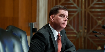 Marty Walsh, testifies on his nomination to be Secretary of Labor before the Senate Committee on Health, Education, Labor and Pensions on February 4, 2021, in Washington, DC. (Photo by MANDEL NGAN / POOL / AFP) (Photo by MANDEL NGAN/POOL/AFP via Getty Images)