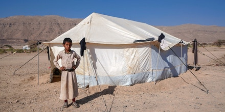 A Yemeni child is pictured at a camp for internally displaced people on the outskirts of the northern city of Marib, on February 18, 2021  in the Saudi-backed Yemeni government's last northern bastion. - Until early last year, life in Marib city was relatively peaceful despite the Yemen's civil war that erupted in 2014. The United Nations warned last week of a potential humanitarian disaster if the fight for Marib continues, saying it has put