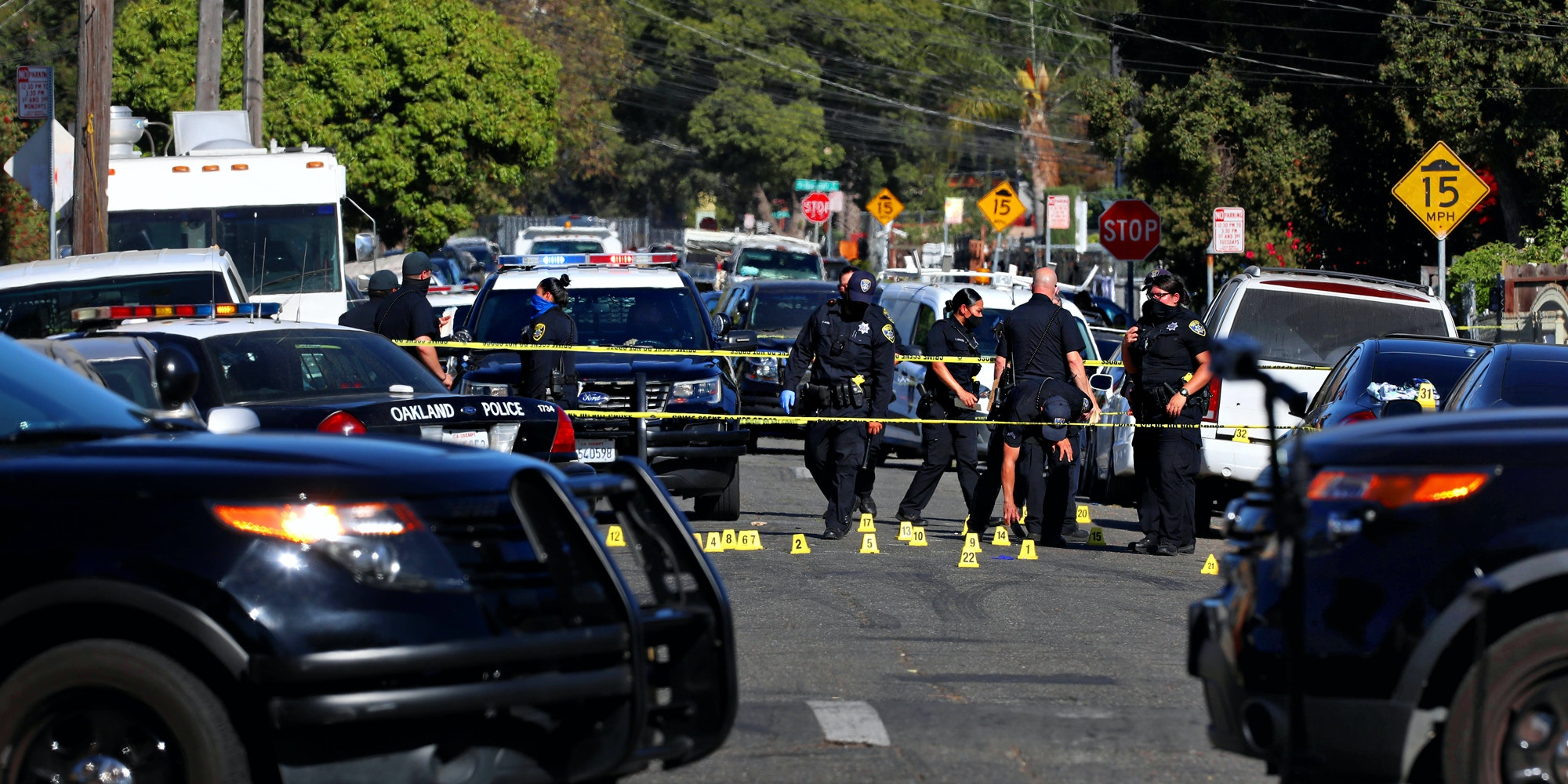 The Oakland Police Department investigates a fatal shooting in the 1900 block of 84th Ave. in Oakland, Calif., October 14, 2020.