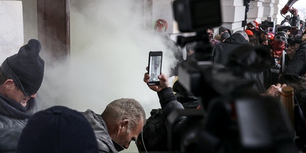 Gas is deployed as rioting Trump supporters breech the Capitol Building in Washington, D.C., on Jan. 06, 2021.
