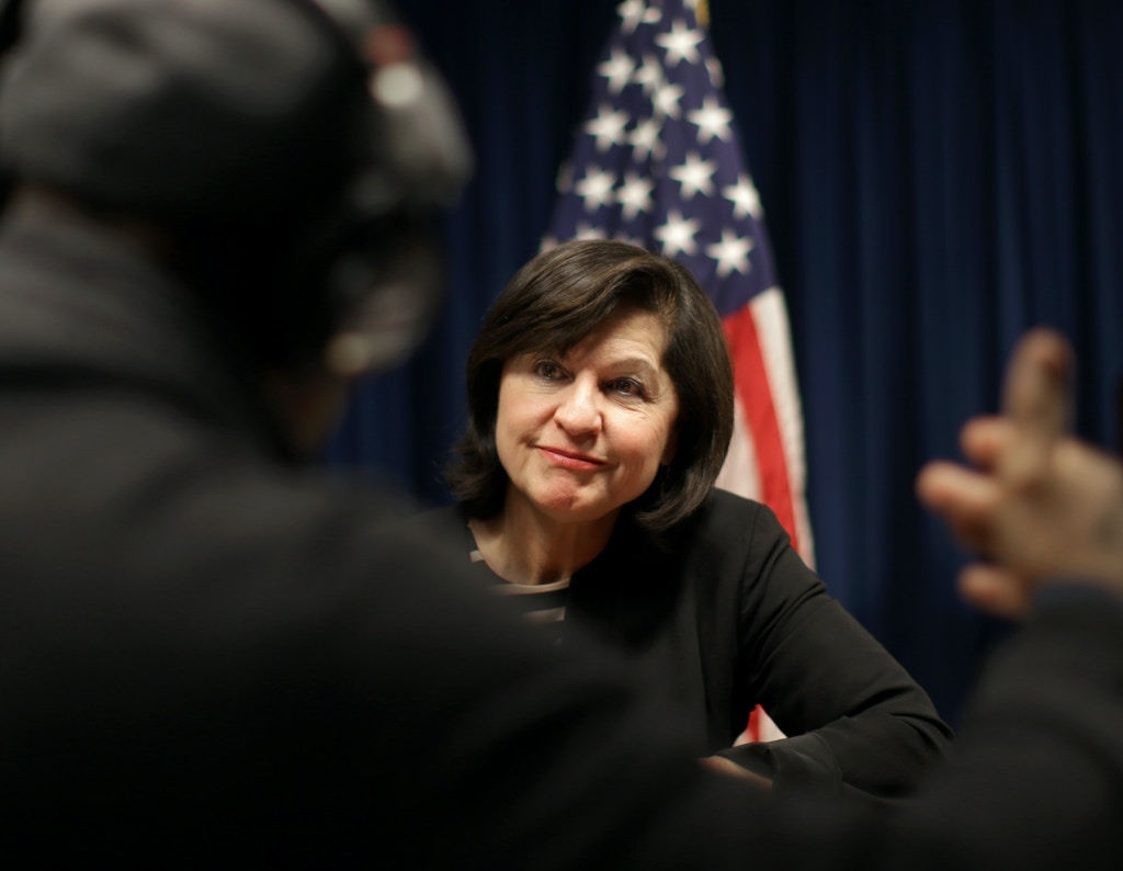 BOSTON , MA - DECEMBER 21: United States Attorney for Massachusetts Carmen Ortiz is stepping down. She gives interviews to local media. (Photo by Jonathan Wiggs/The Boston Globe via Getty Images)