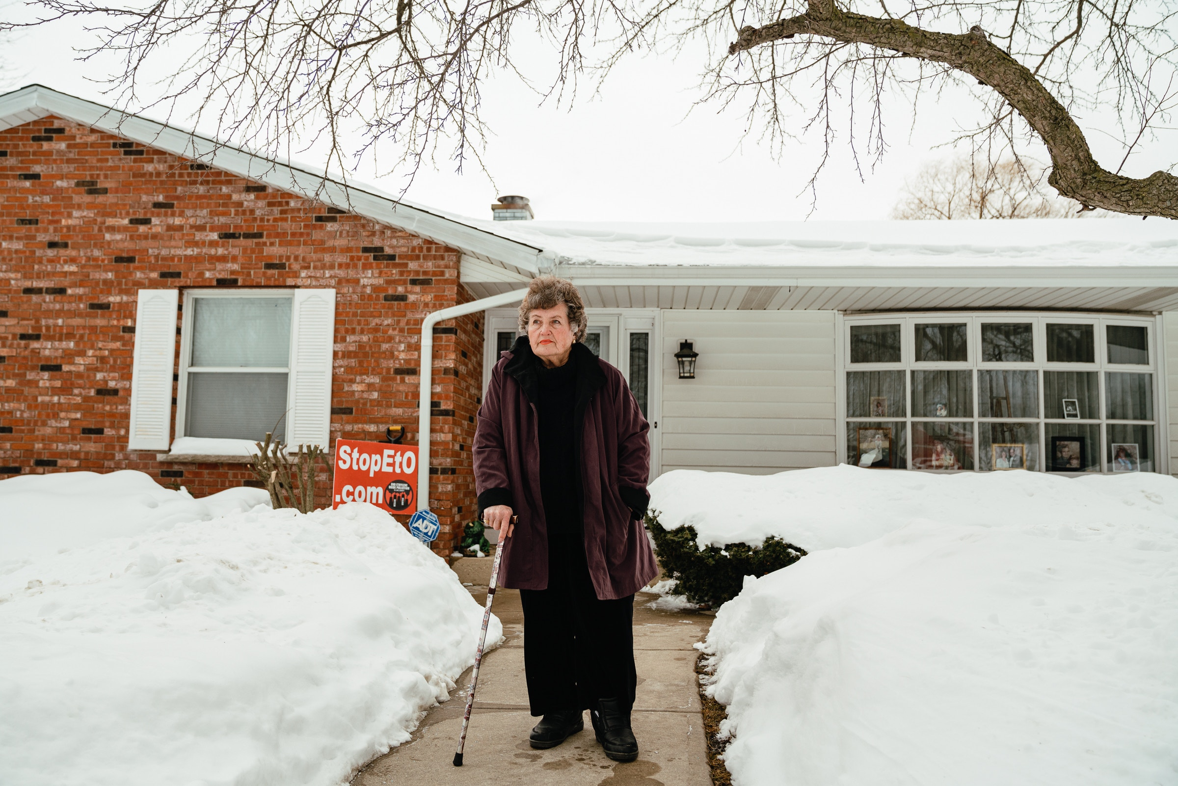 Millie Corder outside of her in Wadsworth, IL on February 21, 2021. Millie's home is located about 3 miles from the Vantage Specialty Plant. Jamie Kelter Davis for The Intercept.