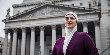Tahanie Aboushi stands in front of the New York County Supreme Court building in Manhattan, N.Y., in January 2020.