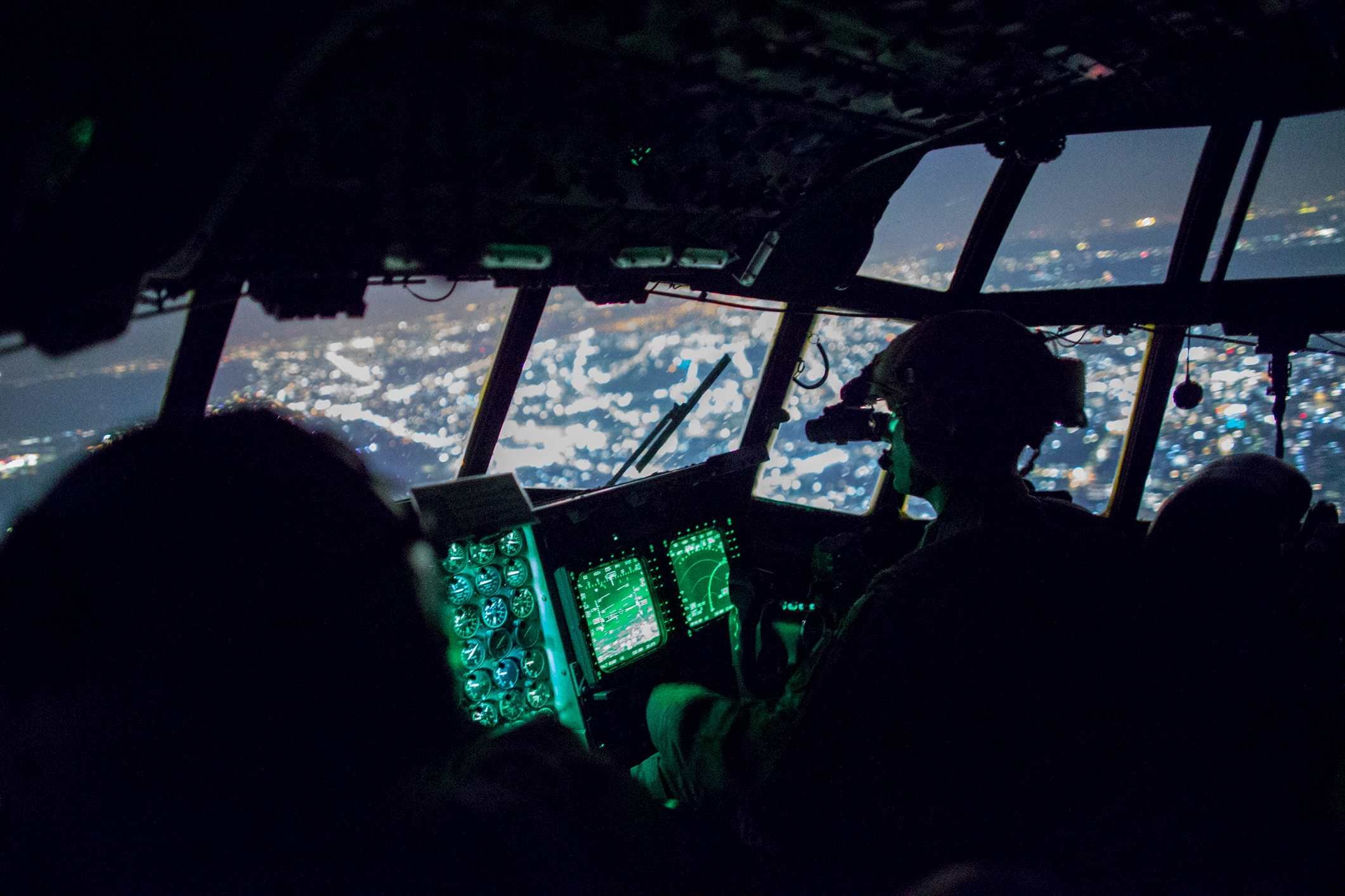 U.S. Air Force MC-130H Combat Talon II crew members from the 353rd Special Operations Group fly over the Kanto Plain, Japan, June 19, 2017, during Exercise Teak Jet. Exercise Teak Jet is a joint combined exchange training (JCET) focused on improving interoperability between U.S. Air Force and Japan Air Self-Defense Force. (U.S. Air Force photo by Yasuo Osakabe)
