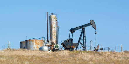 Osage Indian reservation and Tallgrass Prairie reserve pump at an oil well in Oklahoma, OK.