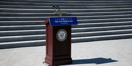 A podium sits before the Capitol steps prior to a Democrat press conference about H.R. 1, at the U.S. Capitol, in Washington, D.C., on March 3, 2021.