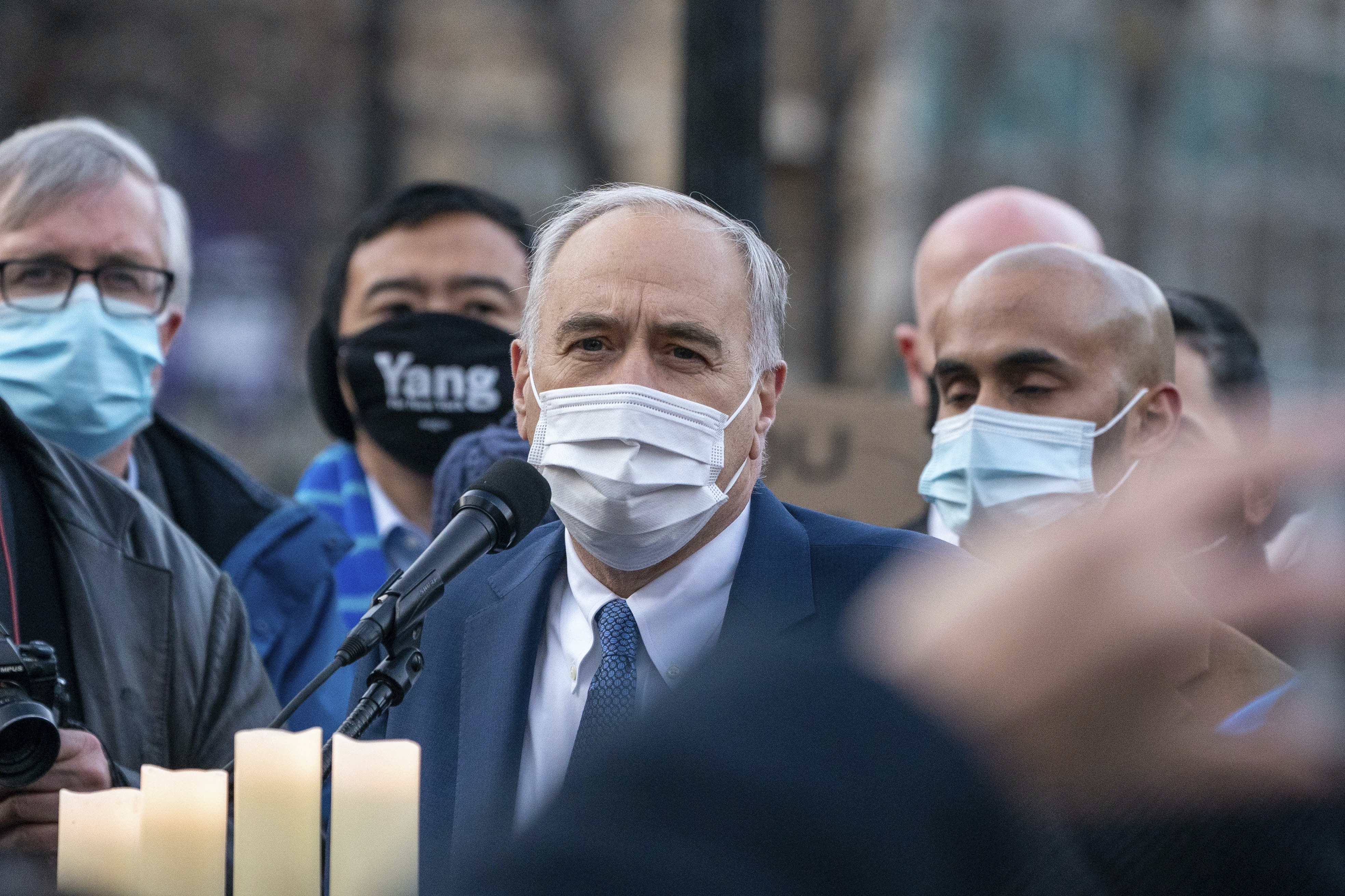 New York State Comptroller Thomas P. DiNapoli attends peace vigil for Atlanta Spa shooting victims of Asian hate at the Union Square in New York City, United States on March 19, 2021. (Photo by John Nacion/NurPhoto via AP)