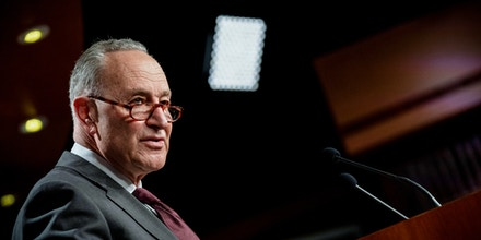 Senate Majority Leader Chuck Schumer, D-N.Y., speaks during a news conference following the Senate policy luncheon on Capitol Hill in Washington, Tuesday, March 23, 2021. (Erin Scott/Pool via AP)