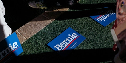 Placards lay on the ground during a campaign event for Senator Bernie Sanders, an Independent from Vermont and 2020 presidential candidate, in Las Vegas, Nevada, U.S., on Friday, Feb. 21, 2020. Roughly one-fourth of likely voters in California back Sanders, but he could walk away with as many as half of the state's delegates on Super Tuesday, a poll released Thursday shows. Photographer: Joe Buglewicz/Bloomberg via Getty Images