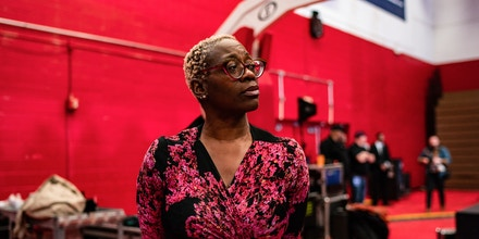 WINSTON-SALEM, NC - FEBRUARY 27: Former Ohio state Sen. Nina Turner waits backstage to be introduced ahead of Sen. Bernie Sanders, I-Vt., 2020 Democratic Presidential Candidate rally at Winston-Salem State University on Thursday, February 27, 2020 in Winston-Salem, NC. (Photo by Salwan Georges/The Washington Post via Getty Images)
