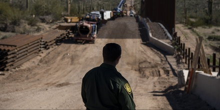 LUKEVILLE, AZ - JANUARY 7:US Border Patrol Agent Joe Curran looks at the border fence construction in the Organ Pipe Cactus National Monument in Lukeville, AZ on January 7, 2020. (Photo by Carolyn Van Houten/The Washington Post via Getty Images)