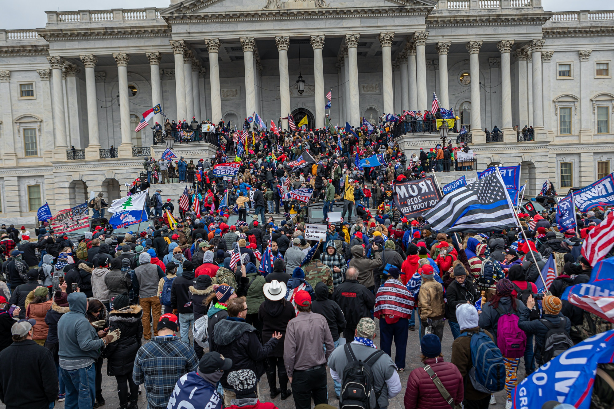 Pro-Trump supporters and far-right forces flooded Washington DC to protest Trump's election loss in Washington DC, on Jan. 6, 2021.