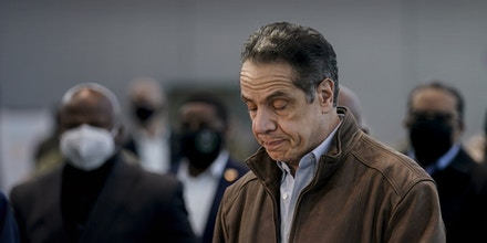 NEW YORK, NEW YORK - MARCH 08: New York Gov. Andrew Cuomo speaks at a vaccination site at the Jacob K. Javits Convention Center on March 8, 2021 in New York City. Cuomo has been called to resign from his position after allegations of sexual misconduct were brought against him. (Photo by Seth Wenig-Pool/Getty Images)