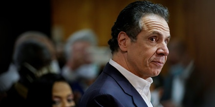 NEW YORK, NY - MARCH 17: New York Governor Andrew Cuomo speaks before getting vaccinated at the mass vaccination site at Mount Neboh Baptist Church in Harlem on March 17, 2021 in New York City. (Photo by Seth Wenig-Pool/Getty Images)