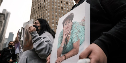 NEW YORK, NEW YORK - MARCH 25: People who've lost loved ones due to Covid-19 while they were in New York nursing homes attend a protest and vigil on March 25, 2021 in New York City. As of this month, New York has recorded the deaths of more than 15,000 nursing home residents with Covid-19. Governor Andrew Cuomo and his administration are being investigated by the F.B.I. on whether they gave false data on nursing homes deaths. (Photo by Spencer Platt/Getty Images)