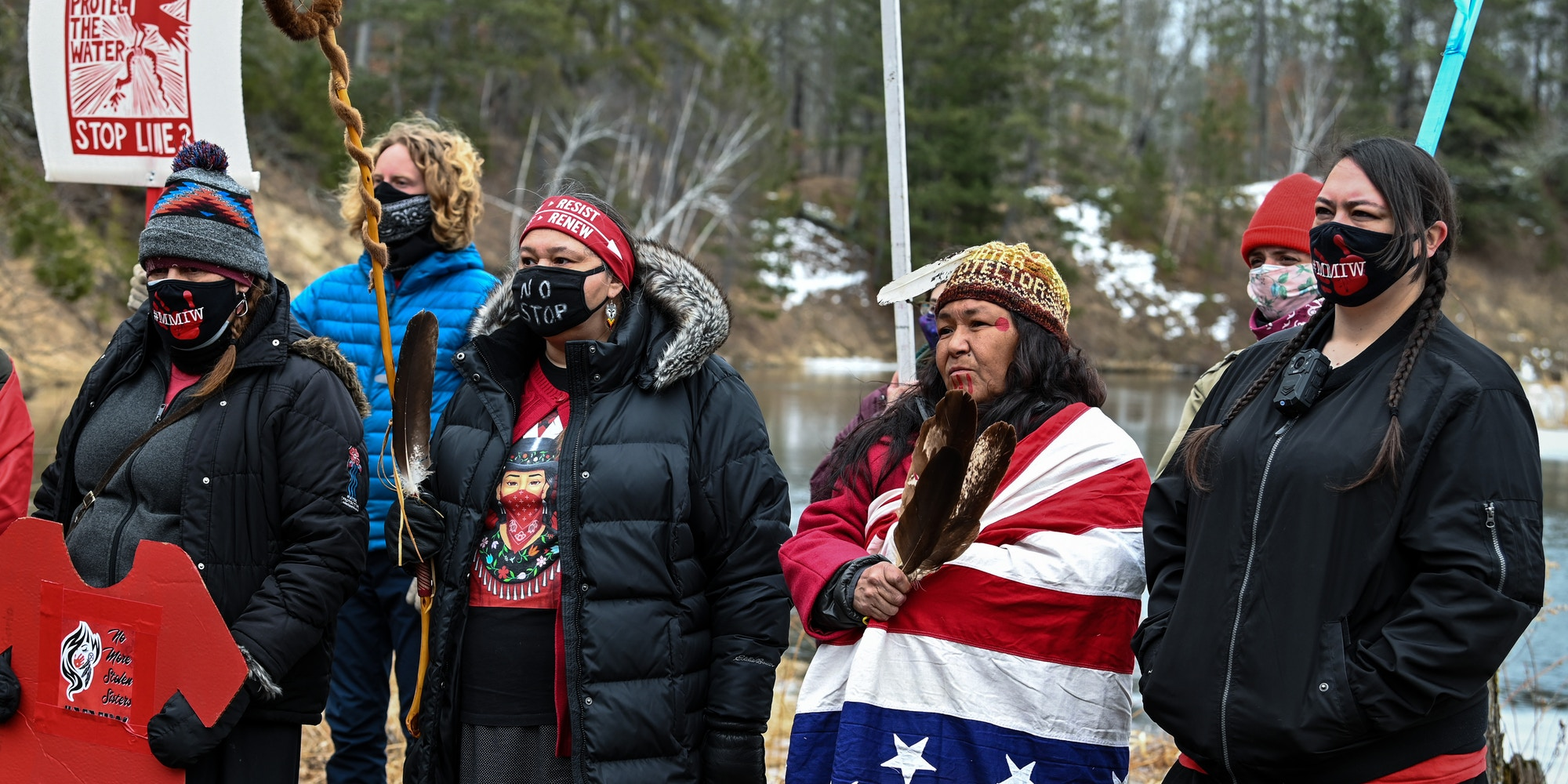 Water protectors rally against the Enbridge Line 3 pipeline in Park Rapids, Minn., on March 15, 2021.