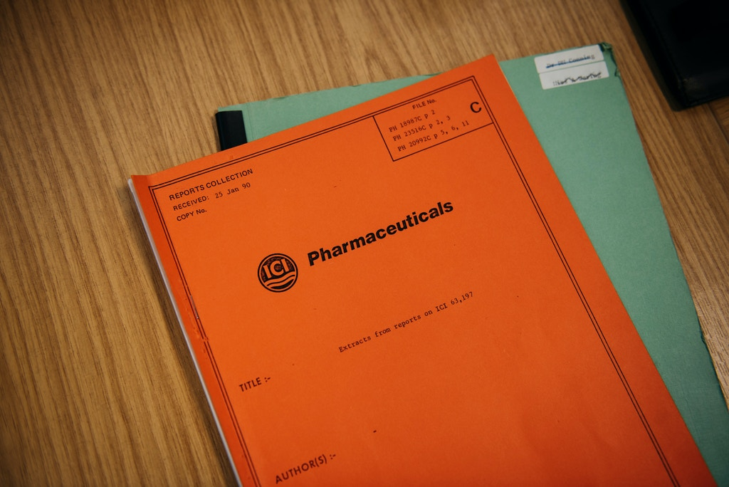 Internal ICI documents that form part of a court case in the U.S. are pictured in the office of Jon Heylings at Keele University Science and Innovation Park on March 15, 2021.