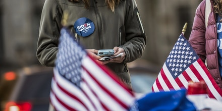 Students are seen organizing get-out-the-vote campaigns at the University of Pittsburgh through signs, stickers, and text messaging in Pittsburgh on Nov. 3, 2020.