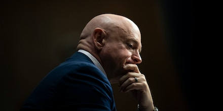 UNITED STATES - March 16: Sen. Mark Kelly, D-Ariz., attends the Senate Armed Services Committee hearing on
