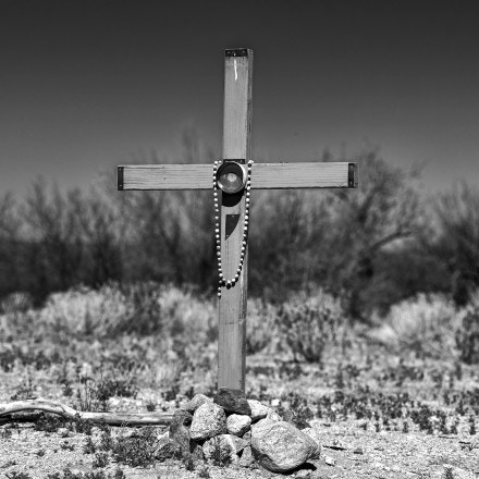 Crosses are seen in the U.S.-Mexico border town of Sasabe, Mexico, on April 2, 2021.