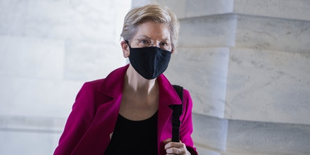 UNITED STATES - MARCH 11: Sen. Elizabeth Warren, D-Mass., is seen in the Senate entrance carriage of the Capitol during a vote on Thursday, March 11, 2021. (Photo By Tom Williams/CQ-Roll Call, Inc via Getty Images)