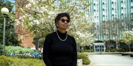 Hattie Whitehead stands outside of Creswell Hall at University of Georgia, where Linnentown once sat on the property. Lynsey Weatherspoon for The Intercept