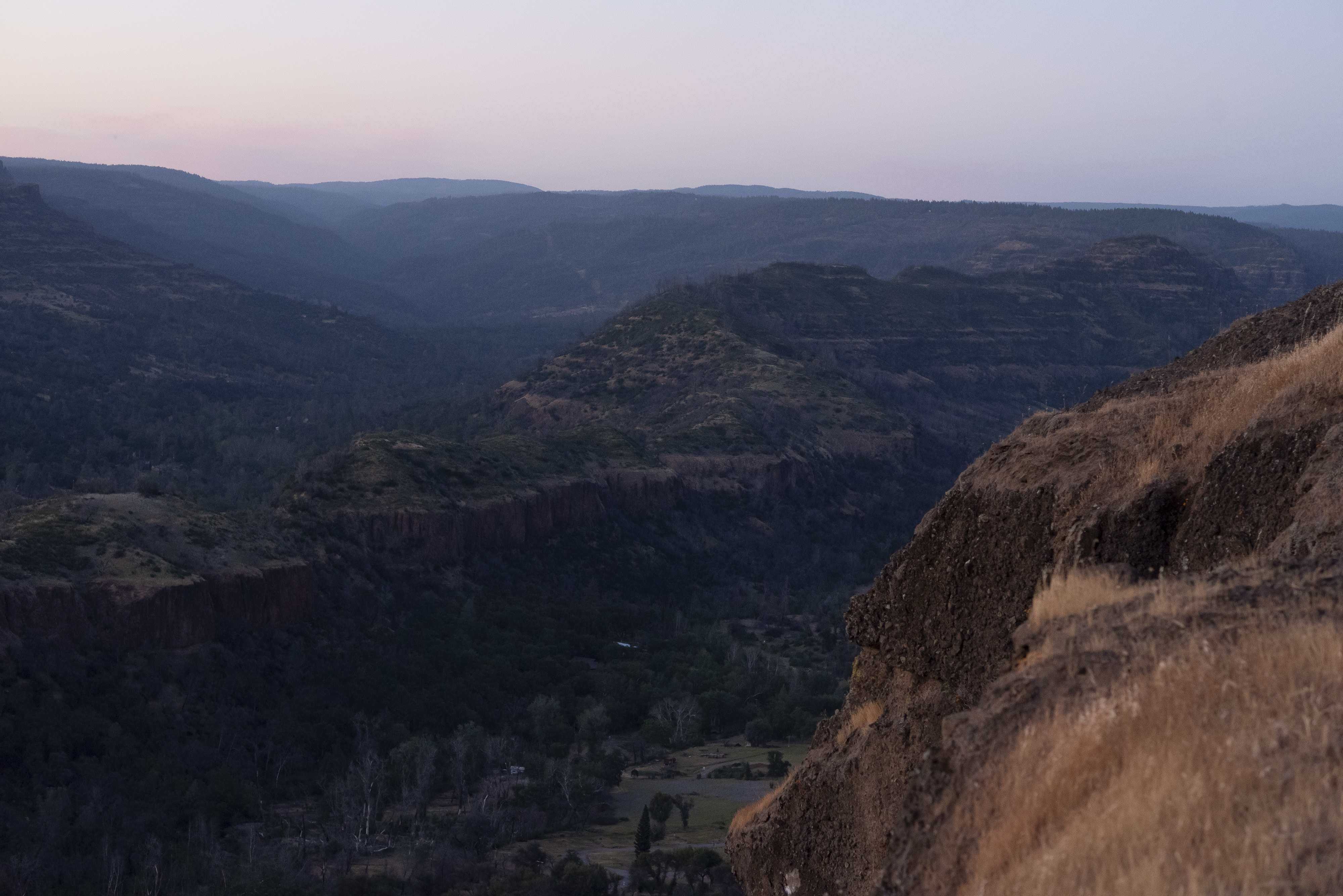 A view of Butte Creek Canyon, which burned in the Camp Fire, from Lookout Point on the Skyway just outside Chico, Calif. on Tuesday May 4, 2021.  Salgu Wissmath for The Intercept