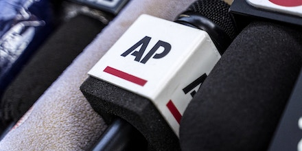 A microphone of Associated Press (AP), an American non-profit news agency is placed outside the Court of Final Appeal as they wait for the verdict of Jimmy Lai's bail. (Photo by Chan Long Hei / SOPA Images/Sipa USA)(Sipa via AP Images)