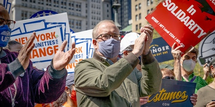 Scott Stringer attends rally by coalition of union members and activists organized to support his bid for mayor at City Hall Park in New York on April 24, 2021. (Photo by Lev Radin/Sipa USA)(Sipa via AP Images)