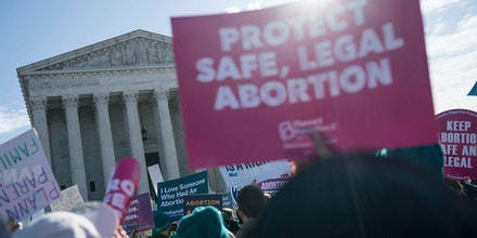 People participate in an abortion rights rally outside of the Supreme Court on March 4, 2020 in Washington, DC.